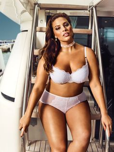 Ashley Graham in the Balconet Bra and the High Cut Panty from her Addition Elle Dreamer Plus Size Lingerie Collection