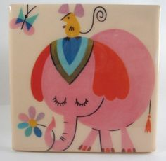 Way too adorable! Vintage Pink Elephant Tile Coaster by robotcandy on Etsy, $6.00