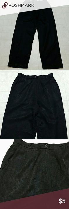 Women's black trousers Women's black trousers in size 14. The inseam is 32 inches brand is Debbie Sue. Pants are really nice with the inside liner. The shell is 56 Acetate and 44% Rayon. lining is 100% acetate. Debi sue Pants Trousers