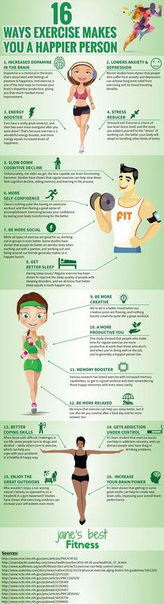 16 Ways Exercise Makes You Happier (Infographic) - http://mindbodygreen.com