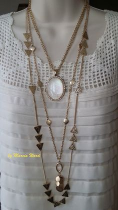 Avery is doubled then added to Your Way. The Avery pendant is reversible and the Your Way necklace has a removable strand. Imagine how many ways you can arrange just these 2 necklaces! Contact me to get yours: Marcia Ward at gemsRfree@gmail.com