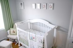 Baby nursery - grey and white feels nice and soft, use color other than green for the bedding/curtain.