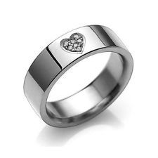 t116_TITANIUM HEART WEDDING ENGAGEMENT RING sz5-10