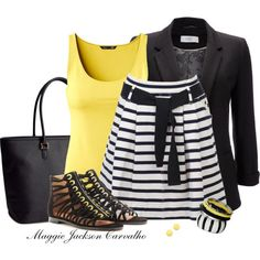 Yellow with stripes....cute outfit but not with those shoes