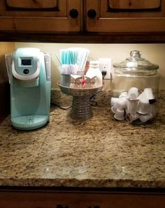 Love this simple countertop coffee station idea - nothing fancy but perfect for my small kitchen! #kitchenideas #homedecorideas #coffeebarideas