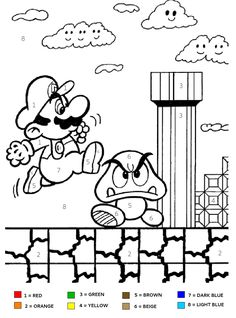 Super Mario Brothers kids color by number coloring page ... Good for party activities!