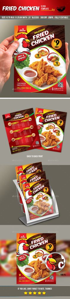 Fried Chicken Flyer & Manu Card - Print Templates