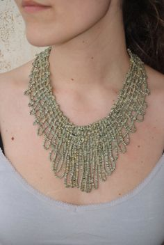 Light Green Net Necklace sewn with Dull Light by JoyasTextiles, €40.00
