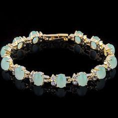 18K Gold plated Malaysia Jade & Crystal Bracelet‼️ Awesome sparkling Crystal 18K Hold plated Malaysia Jade Bracelet‼️.  STP $216. Size 7 in. Item no. 2948-17-0285 Jewelry Bracelets