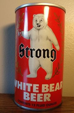 EMPTY Vintage Strong White Bear Beer Flat Top Can Great Color Collectable Intact