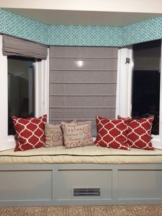 DIY crappy kitchen bay window Boo to custom crafted nook of cheer. Mr. Wonderful built everything of course. I did get down with the staple gun and paint tho. Most expensive part - foam for the bench. Fabrics for the Pelmet Valence and cushion were 50% off coupon deals from Joann. The paint, trim and batting was leftover from other projects. Had the pillows. Hubby did have to redirect the vent stuff which didn't seem to bad as a spectator. But still, total cost only $80 and it makes me happy...