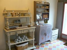 Interior of shop. Floor painted in Annie Sloan Chalk Paint™ using Old White,Paris Grey,Arles and Scandinavian Pink.