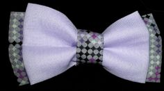 Double Dog Bow tie Purple / Gray Pattern with Solid Lavender. !00% cotton  www.dogbowtique.com #dogbowtie