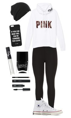"""Pink"" by fashioniz03 ❤ liked on Polyvore featuring maurices, Victoria's Secret PINK, Converse, Jac Vanek, NARS Cosmetics, FACE Stockholm and Nails Inc."