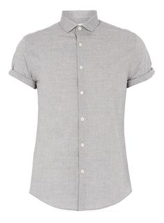 GREY TEXTURED SHORT SLEEVE SMART SHIRT - Short Sleeve Shirts - Men's Shirts - Clothing