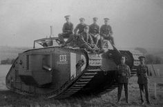 "British Tank Mark V Male no.E33 named ""Excellent"" 1918."