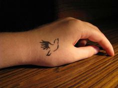 Cute Dove Flying Tattoo on Hand
