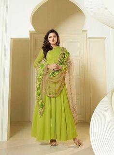 Buy Drashti Dhami green color georgette party wear anarkali kameezin UK, USA and Canada Punjabi Dress, Anarkali Dress, Anarkali Suits, Long Anarkali, Indian Attire, Indian Ethnic Wear, Indian Outfits, Indian Clothes, Bollywood Suits