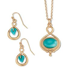 "Goldtone necklace with oval turquoise color stone pendant with open hoop earrings with a triangle shaped turquoise colored stone in the middle. · Necklace: 16 1/2"" L with Lobster Claw clasp · Extender: 3 1/2"" L · Pendant: Removable, 7/8""x 1 3/8"" · Earrings: Pierced, 1/2"" x 15/16"" and are 1"" L with Fishhook and rubber stopper clutch · ImportedWhile supplies last."