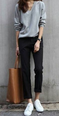 Cute casual outfit – black and gray. – Wearing sneakers wi… Cute casual outfit – black and gray. – Wearing sneakers with an outfit and looking stylish. Fashion Mode, Look Fashion, Trendy Fashion, Korean Fashion, Fashion Black, Street Fashion, Fashion Ideas, Fall Fashion, Fashion Glamour