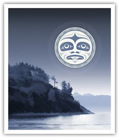 Under a Salish Moon ~ Andy Everson  Inuit Gallery of Vancouver - Specializing in Inuit art, Northwest Coast art, Native Indian art, Canadian aboriginal art, Jewelry, Sculptures, Prints, Drawings, Masks