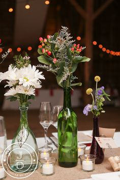 Rustic Maine Wedding Freeport Maine, Rustic Barn, Knot, Glass Vase, Wedding Ideas, Table Decorations, Home Decor, Knots, Decoration Home