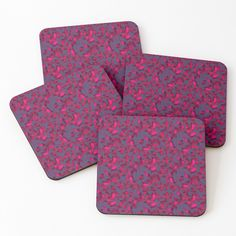 Dark Forest, Sell Your Art, Coaster Set, Leaves, Printed, Awesome, People, Pattern, Pink