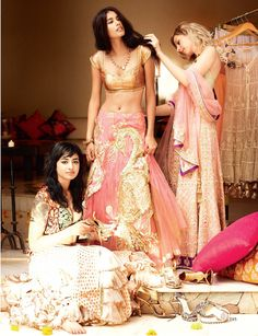 Every girl needs a photo of her getting ready with her friends on her wedding day. From Vogue India.