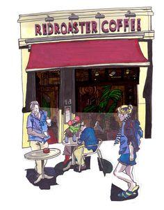 Redroaster coffee shop, St James St Brighton, by Myfanwy Nixon.    #drawing #sketch #inks #brighton #uk #coffeeshop