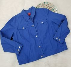 Chaps Mens Denim Jacket Size 3X Blue Colored Button Front Silver Buttons Collar  #Chaps #BasicJacket