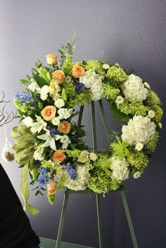 unique sympathy flower arrangements | funeral wreath like