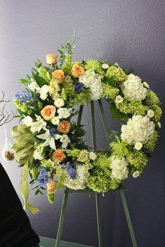 unique sympathy flower arrangements | funeral wreath like
