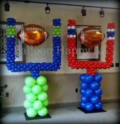 Are YOU ready for the big game? Football goal post balloon columns in Seattle Seahawks and New England Patriots colors – All prepped and tucked away…ready for the big bash this weekend! Football Birthday, Sports Birthday, Birthday Parties, Sports Party, Themed Parties, Kids Sports, 7th Birthday, Birthday Ideas, Football Banquet