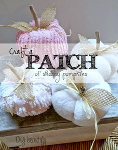 Shabby Pumpkins - the perfect shabby touch for Fall! Craft your own patch using vintage chenille, cozy batting or even old quilt pieces! Tutorial found on http://www.diybeautify.com