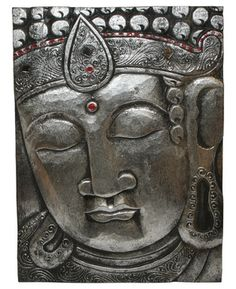 Hand Carved Buddha Wall Panel