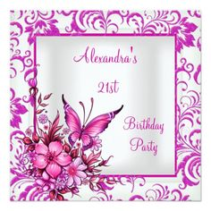 Shop Birthday Pink Floral Butterfly Silver White Invitation created by Zizzago. Butterfly Birthday, Pink Butterfly, Personalized Invitations, Zazzle Invitations, Elegant Birthday Party, Create Your Own Invitations, Floral Invitation, Wedding Cards, Diy Wedding