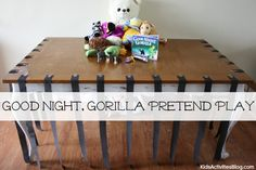 A large appliance box can be made into a cage for children to escape from or to let stuffed animals out of.For this zoo dramatic play, I also added various stuffed zoo animals to invite my son to play.  Additionally, there was a prop bucket with items a zookeeper would use: keys, flashlight, and the Goodnight Gorilla book.