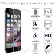 20pcs/lot TOP Quality 0.3mm Screen Tempered Glass For iPhone 7 6 6s plus 5 5s 5c 4 4s Screen Protector Film 9H Explosion Proof