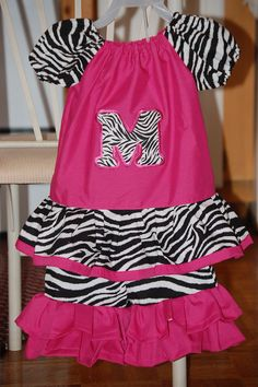 "Zebra & pink initial ""M"" capri set"