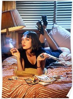 Uma Thurman as Mia Wallace in 'Pulp Fiction', directed by Quentin Tarantino Famous Movie Posters, Famous Movies, Movie Poster Art, Iconic Movies, Good Movies, Art Posters, Poster Frames, Latest Movies, Uma Thurman Pulp Fiction
