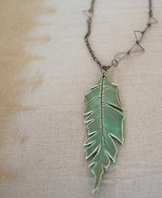 Long Porcelain Feather Pendant Necklace by FieldAndFeather on Etsy
