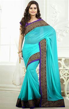 Picture of Flamboyant Cyan Blue Fashion Designer Saree