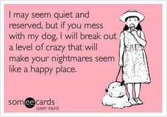 I may seem calm and reserved but mess with my dog and I will break out a level of crazy that will make your nightmares seem like a happy place