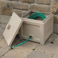 The Mayne Fairfield Garden Hose Bin is a perfect place to store garden hoses up to in length. A pre-molded hole is located on the back side of the bin to secure the hose to your spigot and it comes with a removable lid. Garden Hose Storage, Garden Hose Holder, Garden Tool Organization, Organization Ideas, Storage Ideas, Diy Simple, Plastic Windows, Hose Reel, Hose Box