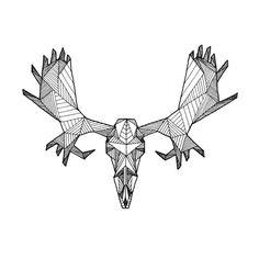 Detailed Geometric Moose Skull Drawing - (Digital Art Print from Original Skeleton Illustration)  PigmentPlusSurface