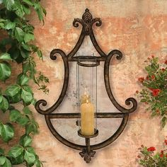 Old World Mirrored Hurricane Sconce Mediterranean Wall Sconces, Tuscan Decorating, Decorating Ideas, Tuscan House, Tuscan Style, Wrought Iron, Old World, Candle Sconces, Decorative Accessories