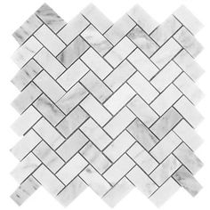 "Carrara (Carrera) Venato 1x2"" Herringbone Polished Marble Mosaic Tile"