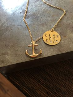 Nautical themed necklace, Anchor Necklace, Nautical Jewelry