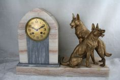XL-Heavy-Marble-French-ART-DECO-1930-Clock-with-spelter-sheep-dog-couple