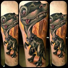 Cute dinosaur tattoo by Kelly Doty love the collar!!!!